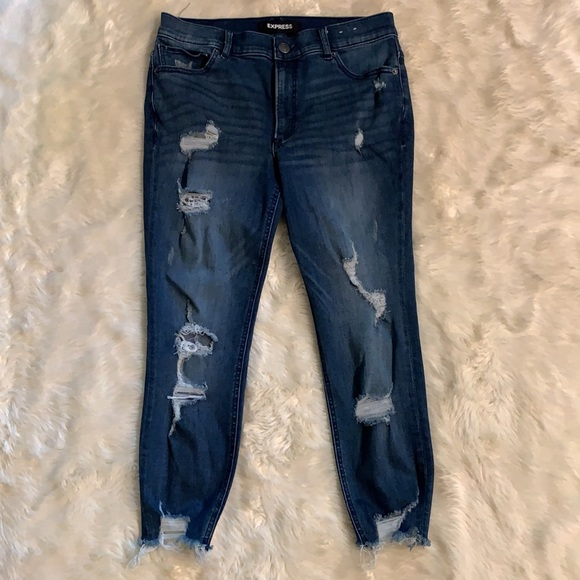 Express Distressed Ankle High Rise Jeans Sz 10S